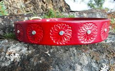Red Leather Dog Collar with flowers and crystals by HiHorseRanch, $49.00