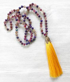 Colorful Agate Tassel Necklace, Knotted Tassel Necklace, Semi Precious Gemstone Necklace, Bohemian Statement Necklace, Summer Style Necklace by FlowersInMyHairShop on Etsy https://www.etsy.com/listing/531921719/colorful-agate-tassel-necklace-knotted