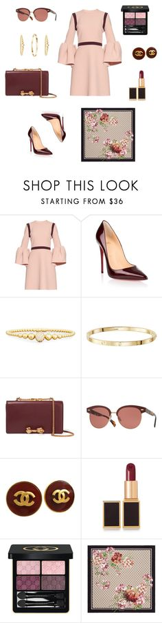 """Embellished Sleeves"" by charlottes-styles on Polyvore featuring mode, Roksanda, Christian Louboutin, Rivière, Valentino, Oliver Peoples, Chanel, Tom Ford, Gucci en classics"
