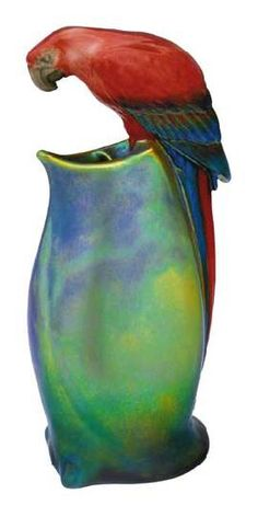 Zsolnay, Hungary, parrot ceramic vase