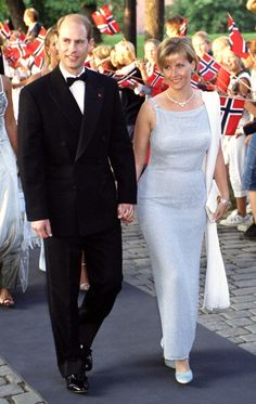 Prince Edward, the Earl of Wessex and Countess Sophie arrive at Akershus Fortress, Oslo for the pre-wedding banquet, August 24th; wedding of Crown Prince Haakon of Norway and ms. Mette-Marit Tjessem Høiby, August 25th 2001