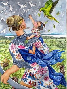 "Nerida de Jong (Born 1945), ""Mother and Baby Reaching for the Birds"""