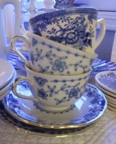 blue and white cups Bridal Shower, Baby Shower, Ladies Luncheon, White Cups, Decorating Your Home, Tea Time, Tea Party, Tea Cups, Blue And White
