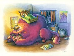 Doodlewash and Watercolor Sketch by Danny Beck of monster under the bed #WorldWatercolorMonth