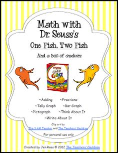 Dr. Seuss One Fish, Two Fish, Red Fish, Blue Fish math graphing preschool activity