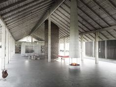 """""""A restaurant building with a mix of enclosed, open, permanent and mobile spaces – gathered under a 100 m long timber frame roof."""" Jägnefält Milton - Long House, 2012"""