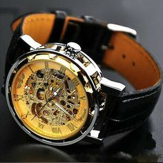 Transparent dial with skeleton design gives you the most fashionable point of view. Stainless steel watch case makes the watch more durable. High quality leather band gives you a new classic definition. Best Watches For Men, Cool Watches, Steampunk Watch, Skeleton Watches, Mechanical Watch, Mechanical Hand, Omega Seamaster, Seiko Watches, Other Accessories