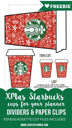 Free printable Christmas Starbucks planner accessories for your planner : paper clips, dividers, die cuts, gift tag