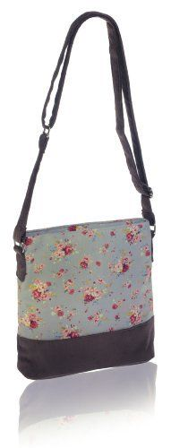 Grey  Printed Flower Cotton and Cotton Cord Messenger Bag. Our enchanting printed flower collection is handmade in vintage inspired printed cottons, trimmed with chocolate cotton cord bases and straps to add a luxurious feel. H 25cm x W 25cm x D 10cm. Strap 130cm long (adjustable). Cross over or messenger bag style with silk satin lining, zip closure, internal zip and mobile phone pocket. Fair trade £17.97 http://www.amazon.co.uk/dp/B00II8BJF6/ref=cm_sw_r_pi_dp_Jjkptb1FSJF4H