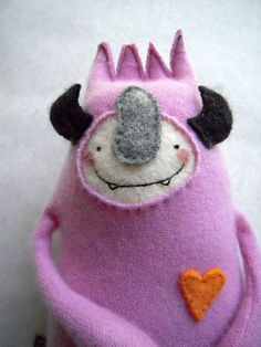 Stuffed Animal Monster from Upcycled Pink by sweetpoppycat on Etsy