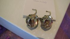 Pale gold crystal earrings french hook