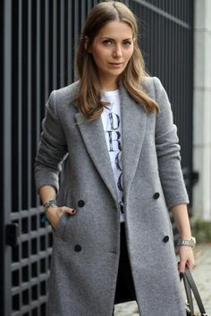 Image result for structured gray double breasted coat woman