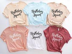 Bff Shirts, Fall Shirts, Shirts For Teens, Couple Shirts, Birthday Squad Shirts, Birthday Stuff, Shirt Mockup, Bella Canvas, Custom Clothes