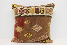 Anatolian Kilim Pillow Cover 20 x 20 Organic Pillow Bedding Pillow Oriental Pillow Bolster Pillow Chevron Pillow Ethnic Pillow by kilimwarehouse on Etsy Big Pillows, Brown Pillows, Kilim Pillows, Brown Pillow Covers, Handmade Pillow Covers, Bolster Pillow, Pillow Shams, Pillow Design, Chevron Pillow