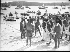 Anniversary of the landing of Governor Phillip at Manly. Home and Away - From the collections of the State Library of NSW. Fleet Landing, Day Of Mourning, First Fleet, Australia Day, Home And Away, Anniversary, Collections, Image, Australia Day Date