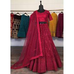 Maroon net glitter zari embroidery work lehenga choli