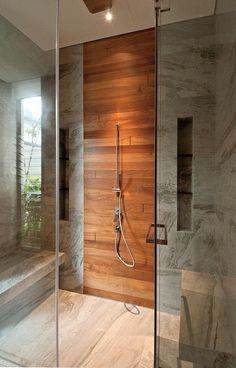 Teak shower wall