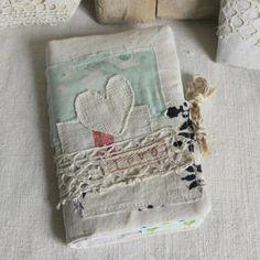 Notebook small blue heart love antique linen by roxycreations