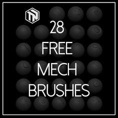 Zbrush: 28 Free Mech Brushes, Tom Newbury on ArtStation at https://www.artstation.com/artwork/zbrush-28-free-mech-brushes
