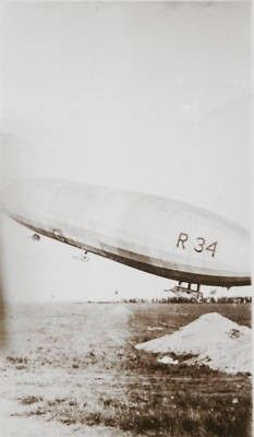 July 6, 1919 -- Mineola -- Photo of the British R-34 dirigible landing at Mineola after making the first TransAtlantic air flight. Three days later it completed the roundtrip back to the United Kingdom. It landed at Roosevelt Field.