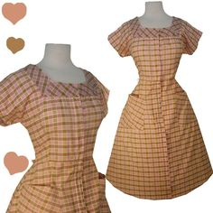 Vintage 40s 50s PINK Plaid COTTON House Day Dress XL XXL Rockabilly Pinup Swing