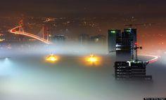 It's a dark and foggy night in Istanbul, Turkey.