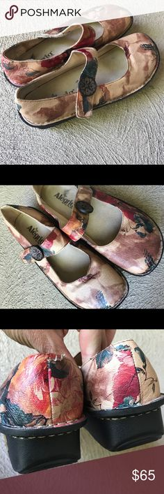 Alegria leather shoes Love the colors in these leather mules with a Velcro strap and boho button.  A little wear on the left footbed .  Great used condition Alegria Shoes Mules & Clogs