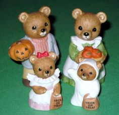 Homco Bear Figurines Vintage 1980s Homco Bear with Pumpkin