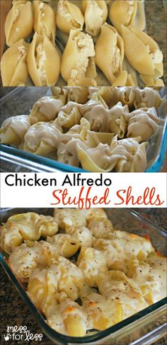 Chicken Alfredo Stuffed Shells - Yummy twist on traditional stuffed shells recipe. Comfort food at its best!: