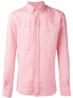 ETRO Logo Embroidered Shirt Red linen logo embroidered shirt from Etro.