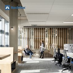 The design of DocuSign new headquarters has been focused on employees' wellbeing and collaboration. Henry J Lyons Architecture and Interiors selected Rockfon acoustic ceilings to reduce noise and meet the client's architectural ambitions. Read more about the case here! #office #rockfon #soundsbeautiful #acoustics #design #officewellbeing #officedesign #designideas #designinspiration #interiordesign #architecture #modernceilings #acousticceilings Metal Mesh Screen, Acoustic Design, Open Ceiling, Office Environment, Polished Concrete, Concrete Floors, Dublin, Design Projects, Interior Architecture