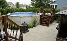 All Time Best Useful Tips: Patio Bar Dreams patio diy paver.Patio Chairs Adirondack patio steps from house. Above Ground Pool Landscaping, Above Ground Pool Decks, Backyard Pool Landscaping, Backyard Pool Designs, Pergola Patio, In Ground Pools, Pergola Ideas, Patio Ideas, Patio Design