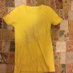 J Crew T Shirt Pretty yellow j crew t shirt with pretty flower appliqués on front, in excellent condition J. Crew Tops Tees - Short Sleeve