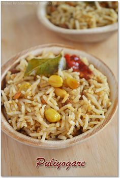 Puliyogare / Tamarind Rice with Pulikaichal Recipe