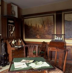 A corner of the New Room with the oak bureau used by Beatrix Potter for writing , Hill Top