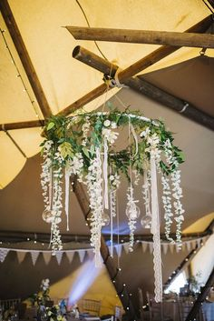 hanging chandelier for a rustic barn wedding