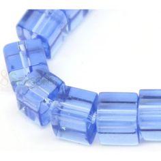 Glass Loose Beads Cube Lightblue