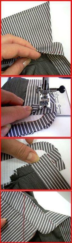 colocación del cuello, primera costura,