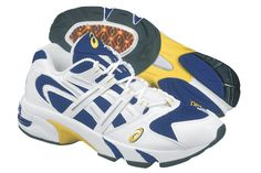 """- Included """"Extended Trusstic System"""" in the midfoot-midsole area to improve wearer stability. Cushioned with T-GEL (formerly 'THETA GEL'). Asics, History, Sneakers, Theta, Stability, Timeline, Evolution, Shoes, Fashion"""