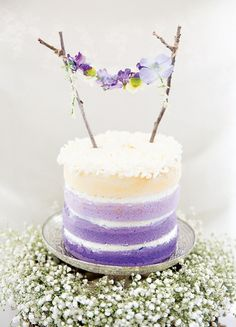 This lavender ombre cake is perfect for a spring wedding.