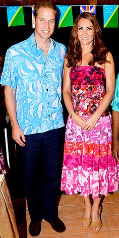 PRETTY PRINTS-ESS  Though the Duchess has racks of designer duds at her disposal, one of our favorite looks from her trip didn't come from any runway. It was a surprise gift from a local Solomon Islands shop. She pairs the dress with summery Stuart Weitzman wedges and pretty curls.