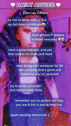 Beauty Tips For Glowing Skin, Health And Beauty Tips, Beauty Tips For Teens, Girl Advice, Girl Tips, Teen Life Hacks, Girl Hacks, Life Hacks Every Girl Should Know, The Glow Up