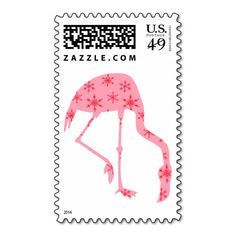 Pink Flamingo Festive Winter custom US Postage Stamp sold by the sheet