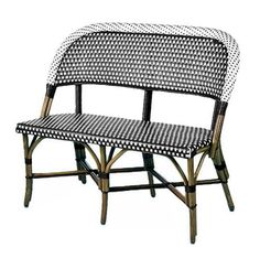 WA HOO DESIGNS, French Bistro Love Seat, Dimensions: 35 high to back, seat depth 21 seat width 43 & seat height Weave: DAMIER Vertical Shiny Black & Horizontal Shiny White, Bindings Shiny Black. Cafe Seating, Patio Seating, Patio Chairs, Wood Patio Furniture, Furniture Design, Furniture Ideas, French Bistro Chairs, Outdoor Rooms, Outdoor Cafe