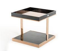 A&X Padua Modern Large Black & Rosegold End Table