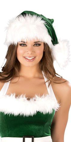 Sexy Faux Fur Velvet Santas Elf Hat | Musotica.com