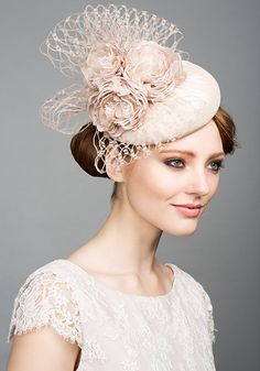 Rachel Trevor Morgan Millinery S/S 2015, R1566 Pavlova silk pillbox with handmade flowers and veil