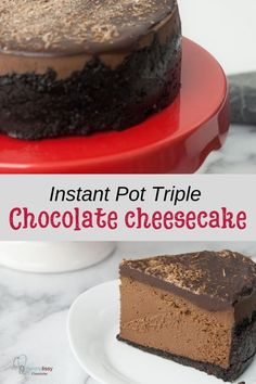 Instant Pot Triple Chocolate Cheesecake Easy instant pot cheesecake — Making decadent chocolate cheesecake can't be easier with this recipe. The perfect dessert for the chocolate lover or for any holiday dessert table. Triple Chocolate Cheesecake, Decadent Chocolate, Vegan Chocolate, Chocolate Desserts, Chocolate Lava, Cheesecake Recipes, Dessert Recipes, Dessert Food, Dessert Tables
