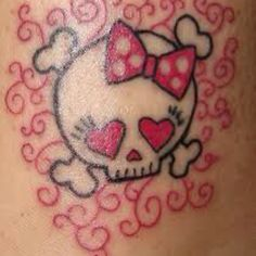 Pink Heart Girly Skull Tattoo
