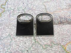 2 mod black and silvertone metal pull handles